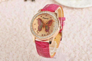 Feshionn IOBI Watches Pink CLEARANCE - Shimmering Butterfly Rose Gold Ladies Leather Watch