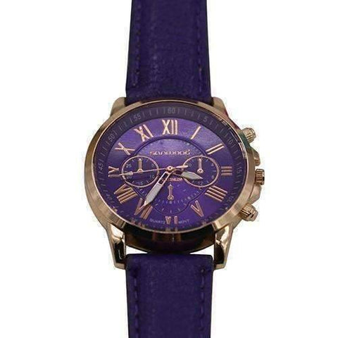 Feshionn IOBI Watches Purple CLEARANCE - Rose Gold Classic Geneva Watch - Choose Your Color