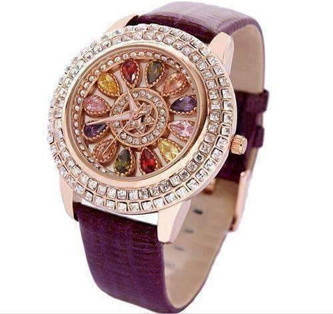 Feshionn IOBI Watches Purple Kaleidoscope of Colors Deluxe Crystal & Leather Wrist Watch ~ Four Colors to Choose!