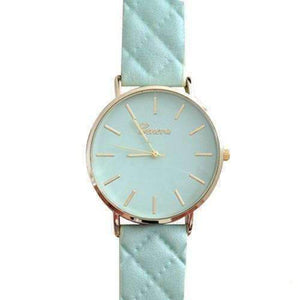 Feshionn IOBI Watches Quilted Leather Geneva Watch in Mint Green