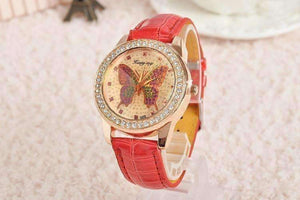 Feshionn IOBI Watches Red CLEARANCE - Shimmering Butterfly Rose Gold Ladies Leather Watch