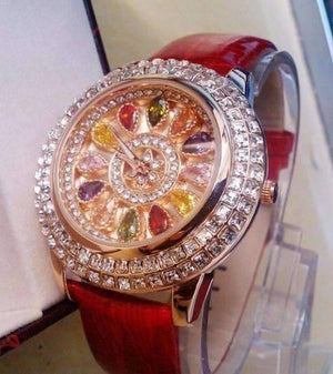 Feshionn IOBI Watches Red Kaleidoscope of Colors Deluxe Crystal & Leather Wrist Watch ~ Four Colors to Choose!