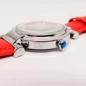 Feshionn IOBI Watches Red with Blue Crown Sophisticated Omega Case Water Resistant Wrist Watch With Leather Band - 5 Colors to Choose!