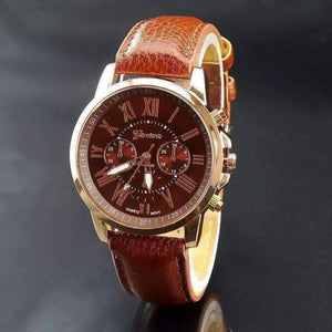 Feshionn IOBI Watches Rose Gold Classic Geneva Watch in Classic Brown