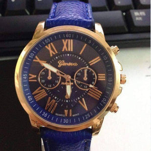 Feshionn IOBI Watches Rose Gold Classic Geneva Watch in Cobalt Blue