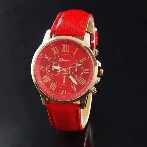 Feshionn IOBI Watches Rose Gold Classic Geneva Watch in Red