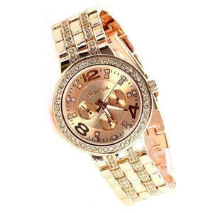 Feshionn IOBI Watches Rose Gold Luxury Geneva Stainless Steel Watch with Diamond Bezel and Inlaid Bracelet Link Band