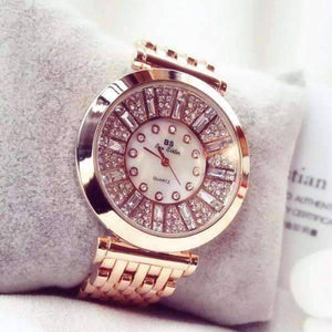 Feshionn IOBI Watches Rose Gold Spectacle Deluxe Austrian Crystal Luxury Ladies Watch in Two Colors