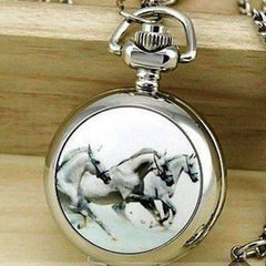 Feshionn IOBI Watches Silver Horse Mini Pocket Watch Long Necklace