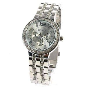Feshionn IOBI Watches Silver Luxury Geneva Stainless Steel Watch with Diamond Bezel and Inlaid Bracelet Link Band