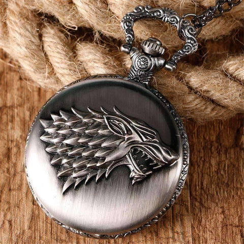 Feshionn IOBI Watches Silver Stark Throne Wolf Embossed Bronze Pocket Watch - Silver or Bronze