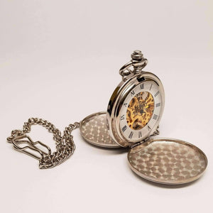 Feshionn IOBI Watches Silver Tone Antique Skeleton Mechanical Style Two-Door Pocket Watch