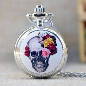 Feshionn IOBI Watches Skull Floral Skull Enamel Mini Pocket Watch Necklace