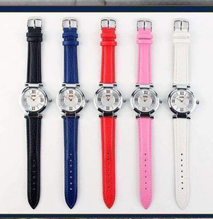 Feshionn IOBI Watches Sophisticated Omega Case Water Resistant Wrist Watch With Leather Band - 5 Colors to Choose!