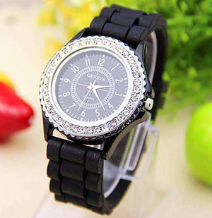 Feshionn IOBI Watches Sparkly Silky Silicone Watch in Black