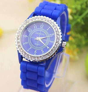 Feshionn IOBI Watches Sparkly Silky Silicone Watch in Blue