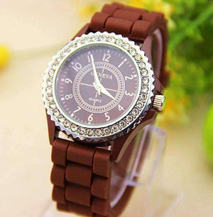 Feshionn IOBI Watches Sparkly Silky Silicone Watch in Chocolate Brown