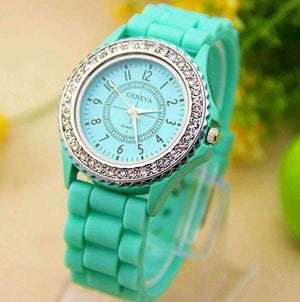 Feshionn IOBI Watches Sparkly Silky Silicone Watch in Mint Green