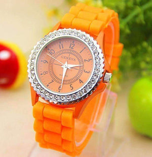 Feshionn IOBI Watches Sparkly Silky Silicone Watch in Orange