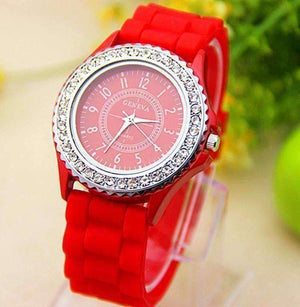 Feshionn IOBI Watches Sparkly Silky Silicone Watch in Red