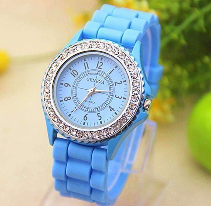 Feshionn IOBI Watches Sparkly Silky Silicone Watch in Sky Blue