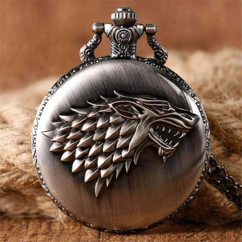 Feshionn IOBI Watches Stark Throne Wolf Embossed Bronze Pocket Watch - Silver or Bronze