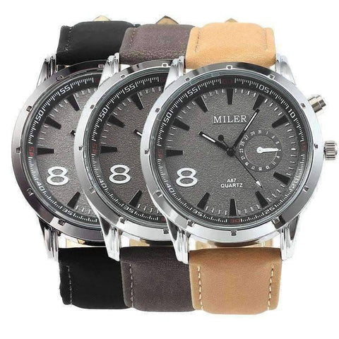 Feshionn IOBI Watches Sueded Leather 8 Watch For Men or Women - Your Choice of Black, Camel, or Dark Grey