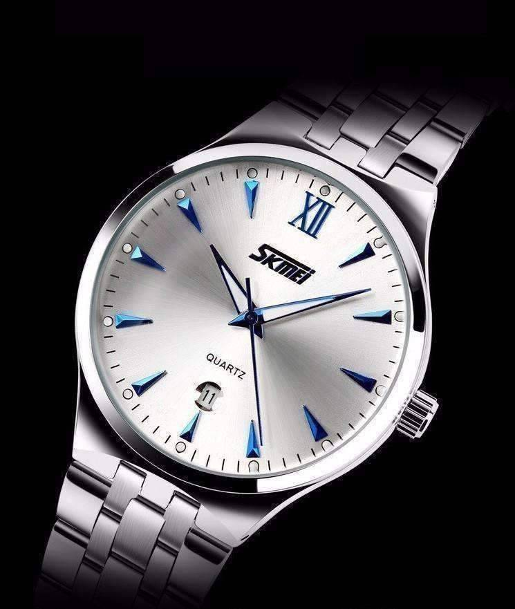 Feshionn IOBI Watches Blue on White Swim or Sport Auto-Date Water Resistant Stainless Steel Men's Wrist Watch