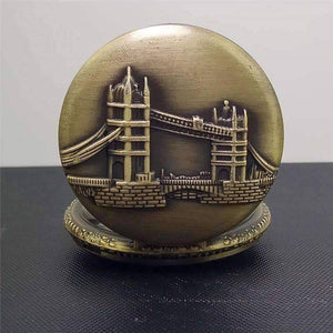 Feshionn IOBI Watches Tower Bridge Embossed Bronze Pocket Watch