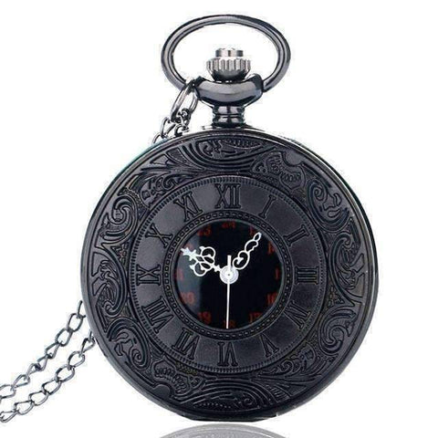 Feshionn IOBI Watches Vintage Gunmetal Window Pocket Watch
