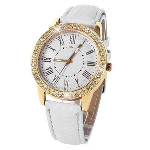 Feshionn IOBI Watches White Casual Elegance Yellow Gold Geneva Watch With Matching Face ~ Two Classic Colors