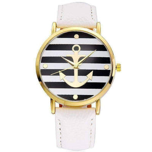 Feshionn IOBI Watches White CLEARANCE - Ahoy! Anchor Watch in White and Black Stripes