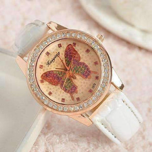 Feshionn IOBI Watches White CLEARANCE - Shimmering Butterfly Rose Gold Ladies Leather Watch