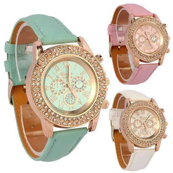 Extravagant Crystals Rose Gold Geneva Watch With Matching ...