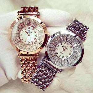 Feshionn IOBI Watches White Gold Spectacle Deluxe Austrian Crystal Luxury Ladies Watch in Two Colors