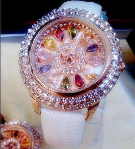 Feshionn IOBI Watches White Kaleidoscope of Colors Deluxe Crystal & Leather Wrist Watch ~ Four Colors to Choose!