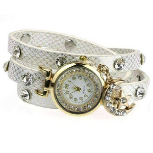 "Feshionn IOBI Watches White ""Look To The Moon And Stars"" Sparkly Wrap Bracelet Watch in White"