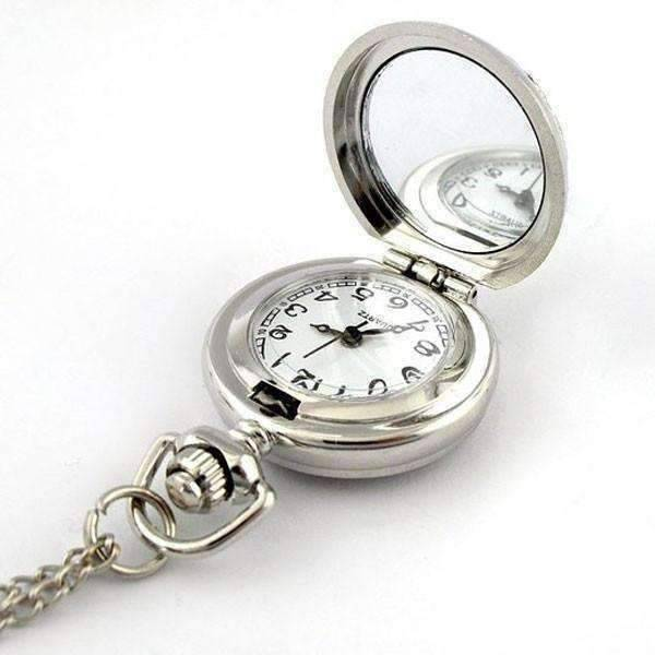 Black Pearl Flower Vintage Style Mini Pocket Watch Necklace