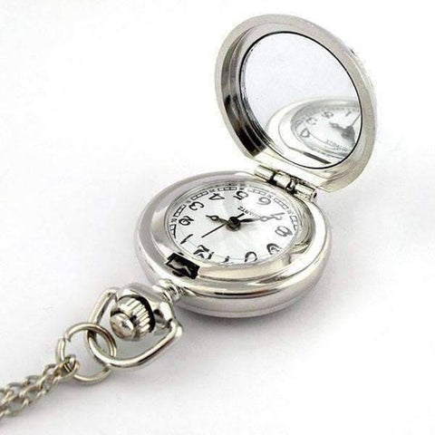 Feshionn IOBI Watches White Pearl Flower Vintage Style Mini Pocket Watch Necklace
