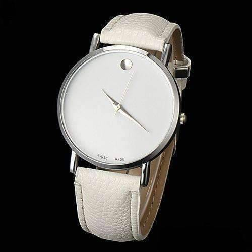 Feshionn IOBI Watches White Swiss Leather Watch in White