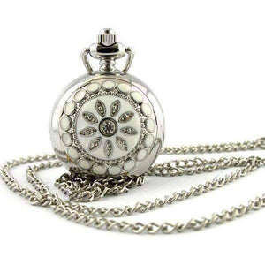 Feshionn IOBI Watches White White Pearl Flower Vintage Style Mini Pocket Watch Necklace