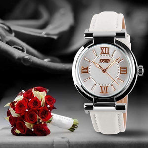 Feshionn IOBI Watches White with Black Crown Sophisticated Omega Case Water Resistant Wrist Watch With Leather Band - 5 Colors to Choose!