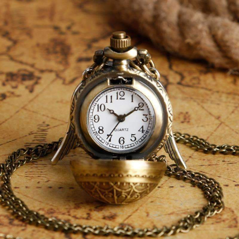 Feshionn IOBI Watches Wizard's Game Mini Snitch Gold-Tone Pocket Watch Necklace