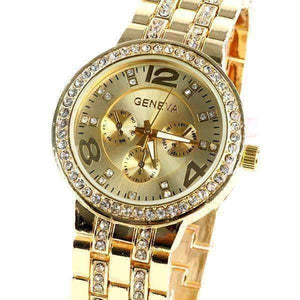 Feshionn IOBI Watches Yellow Gold Luxury Geneva Stainless Steel Watch with Diamond Bezel and Inlaid Bracelet Link Band