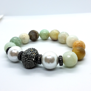 Faceted Genuine Amazonite Stretch Bead Bracelet