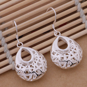 Droplet Silver Filigree Cage Earrings