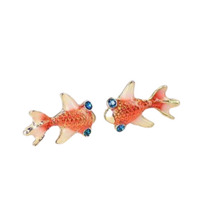 14K Gold Plated Goldfish Earrings with Blue Topaz Crystal Eyes For Woman