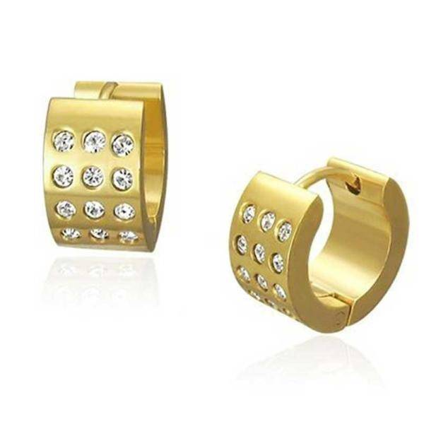 CZ in Gold Huggie Hoop Stainless Steel Earrings - For Men or Women