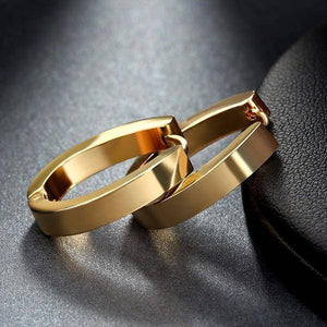 Elongated 15mm Gold Stainless Steel Huggie Hoop Earrings - For Men or Women