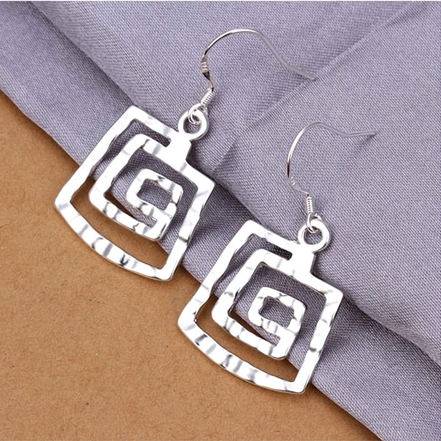 Hammered Spiral Square Silver Hook Earrings For Woman